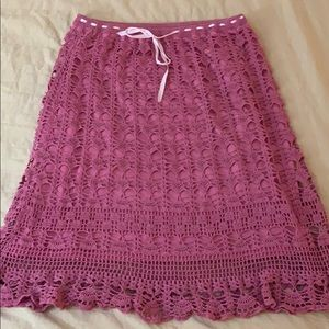 Pink crocheted tie front skirt